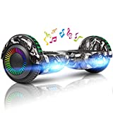 LIEAGLE Hoverboard Two-Wheel Self Balancing Electric Scooter UL 2272 Certified 6.5' with Bluetooth Speaker and LED Light Flash Lights Wheels (White)