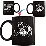 Onebttl Pug Dog Mom Dad Funny Coffee Mug, Dog Animal Lover Presents for Women, Pug Lover, Heat Sensitive Color Changing Mug, Novelty Coffee Mugs for Pet Lover 11oz/330ml Black