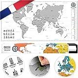 #benehacks Carte du Monde à gratter Poster Mural en GAULOIS - Décoration carnet de Voyage Aventures avec cartographie détaillée - Argent/Blanc - 84 x 44 cm
