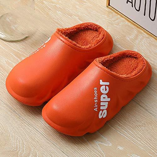 Pantuflas Cálido,Zapatillas cálidas para Mujer,Zapatillas de Zueco para Hombre otoño Invierno para Mujer,Zapatillas de Mula Antideslizantes Impermeables,Zapatos de casa de Felpa Unisex-Naranja