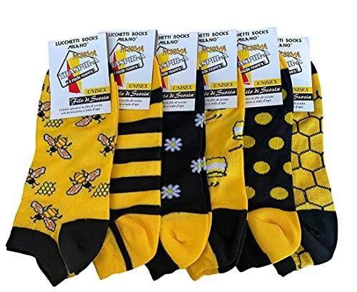 Lucchetti Socks Milano Calzini donna corti cotone mercerizzato fresco e leggero colorati pois fantasia righe Made in Italy 6 paia (35-40, I want Be to Bee)
