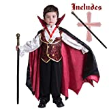 Gothic Vampire Costume Deluxe Set for Boys, Kids Halloween Party Favors, Dress Up,Role Play and Cosplay (3T)