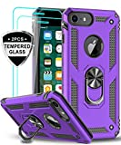 LeYi iPhone 6s/ 6 Case, iPhone 7 Case, iPhone 8 Case with Tempered Glass Screen Protector [2Pack], Military Grade Protective Phone Case with Ring Car Mount Kickstand for Apple iPhone 6/6s/7/8, Purple