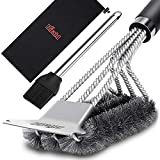 Birald Grill Brush and Scraper - Extra Strong BBQ Cleaner Accessories - Safe Wire Bristles 18'...
