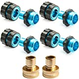 PLG Garden Hose Quick Connect,Male and Female Hose Connector,4 Set with 2 Faucet Adapter