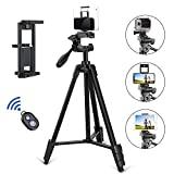 """TAIROAD Phone Tripod, Portable Lightweight Aluminum Travel Tripod with Carry Bag & Bluetooth Remote, 1/4"""" Mounting Screw for Mirrorless/Gopro/DSLR Camera and 2 in 1 Clip for Smartphone and iPad"""