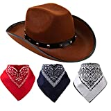 Brown Cowboy Hat and 3 Pcs Bandana for Cowboy Halloween Costume, Halloween Accessories, Cowboy Themed Parties, Costume Contest, School Play, Trick or Treat, Photo-props, and Photoshoots