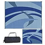Reversible Mats 159123 Outdoor Patio / RV Camping Mat - Swirl (Blue/Black/Grey, 9-Feet x 12-Feet)