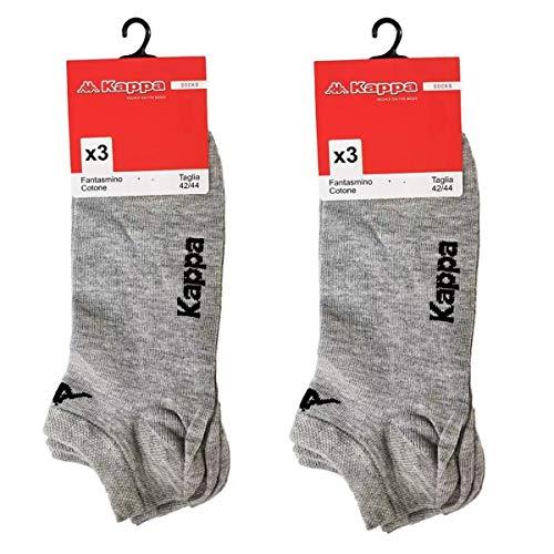 6 paia calzini KAPPA , calzini fantasmini invisibili ,calzini sneakers in cotone ,modello unisex, vari assortimenti. (42-44, 6 paia grigio)