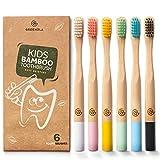 Greenzla Enfants Brosses à dents en bambou (Lot de 6) | Brosses...