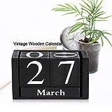 Yosoo 木製 万年カレンダー DIY年プランナーペンホルダー 再利用可能 デスクカレンダーブロック (ブラック, 9.5*4.5*5.2cm)