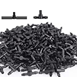 Lhx Three-way Drip Irrigation Connector Hose Barb Connector Suitable for Sprinkler Irrigation Irrigation System 4mm/7mm Pipes (100 pcs) (Black02)