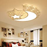 LightInTheBox Modern Moon LED Flush Mount Ceiling Light Chandeliers Star Lighting for Living Room Bedroom Girls Room 960lm Bulb Included (Warm White) (1PC)
