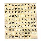 Chianrliu- Lettres en Bois de-Puzzle Alphabets A à Z, 100 Wood, Noir