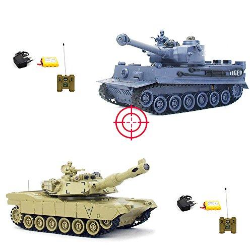HSP Himoto German Tiger I vs M1A2 Abrams - Mega Battle-Set: 2 x RC Ferngesteuerter Panzer mit integriertem INFRAFOT KAMPFSYSTEM, Schusssimulation, Sound und Beleuchtung,KOMPLETT-Set, Neu