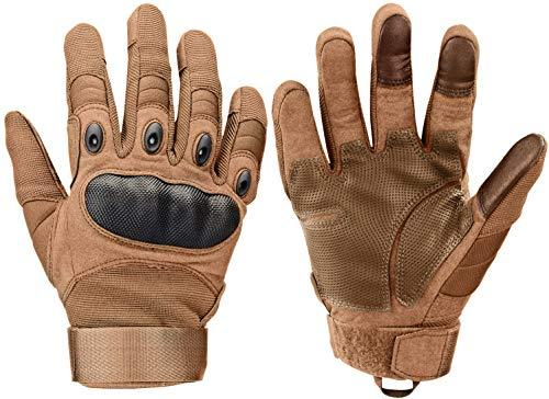Xnuoyo Gloves Gummi Hart Vollfinger und Halbe Fingerhandschuhe Schutzhandschuhe Touchscreen Handschuhe für Motorrad Radfahren Jagd Klettern Camping (M, braun)