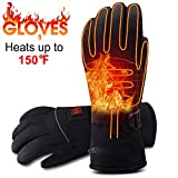 Rabbitroom Electric Battery Heated Gloves for Men&Women Rechargeable Battery Powered Gloves Waterproof Thermal Arthritic Gloves Winter Outdoor Sport Mittens (Large Size)