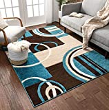 Echo Shapes & Circles Blue & Brown Modern Geometric Comfy Casual Hand Carved Area Rug 5x7 ( 5'3' x 7'3' ) Easy Clean Stain Fade Resistant Abstract Contemporary Thick Soft Plush Living Room Rug