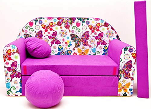 Pro Cosmo - Divano Letto M33per Bambini, con Pouf/poggiapiedi/Cuscino, in Tessuto Colore Viola...