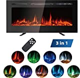 MAXXPRIME 40' Electric Fireplace, Free Standing, Recessed and Wall Mounted Fireplace Insert Heater with Touch Screen Control Panel, Faux Fire Log & Crystal Options, 9 Flamer Color, 750/1500W