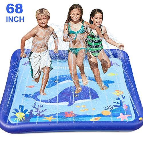 GiftInTheBox Kids Sprinkler & Splash Play Mat 68' Sprinkler for Kids Outdoor Water Toys Fun for Toddlers Boys Girls Children Outdoor Party Sprinkler Toy Splash Pad
