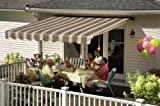Sunsetter Awning, Motorized Retractable Awning with Island Brown Acrylic Fabric, 20ft.