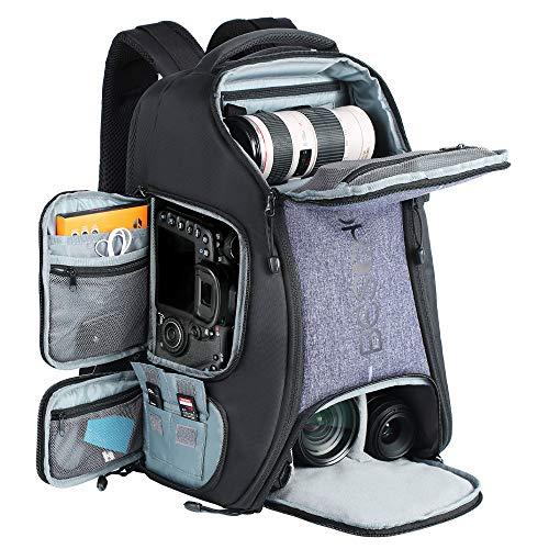 カメラバック 一眼レフ カメラリュック 三脚付け可 Beschoi バックパック 大容量 2気室 nikon canon Sigma Tamron sonyなどカメラ兼用 軽量 旅行 撮影 アウトドア グレー色