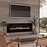 Cloud Mountain 60' Electric Fireplace Recessed 3.86' Ultra Thin Insert, Wall Mounted and in Wall Easy Installation with Remote Control, 750W/1500W, Low Noise (Fake Fire)
