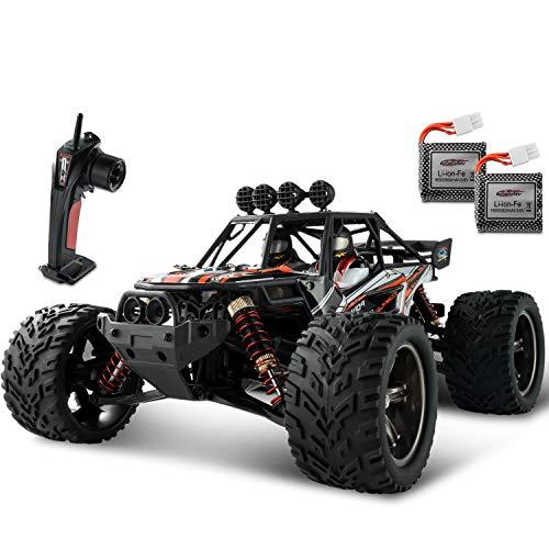 BEZGAR Ferngesteuertes Auto, 1/12 Wasserdichtes Off-Road RC-Auto 38Km/h Hochgeschwindigkeits-Elektro-Spielzeugfahrzeug mit 2 wiederaufladbaren Batterien für Jungen und Erwachsene