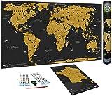 WIDETA Carte du Monde à gratter, Français/Poster Grand Format (82 x 43 cm) /...