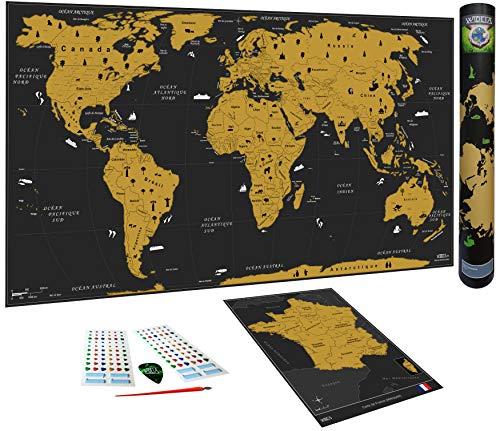 WIDETA Carte du Monde à gratter, Français/Poster Grand Format (82 x 43...