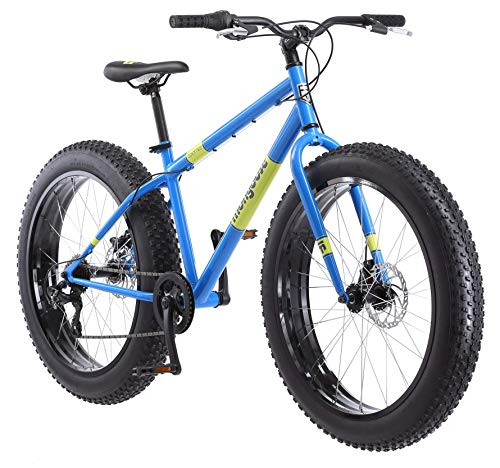Mongoose Dolomite Mens Fat Tire Mountain Bike, 26-inch Wheels, 4-Inch Wide Knobby Tires, 7-Speed, Steel Frame, Front and Rear Brakes, Light Blue