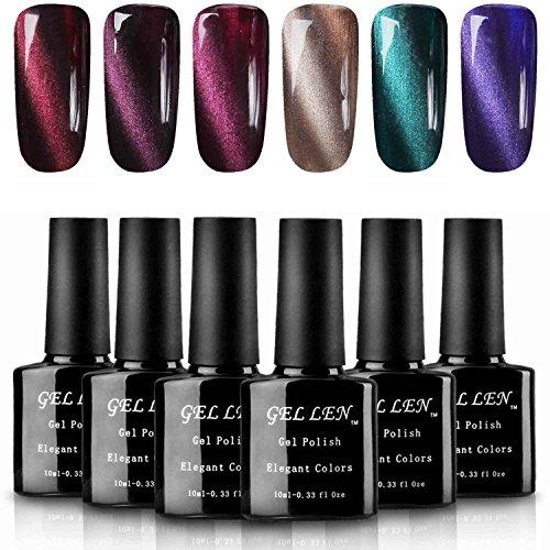 Gellen Cat Eye Gel Nail Polish Kit Elegance 6 Colors - With 1pc Magnet Wand Deep Rich Gel Colors Nail Art Manicure Set
