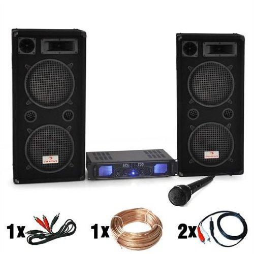 DJ set 'DJ-26' impianto audio completo PA (2 casse AUNA diffusori 2000 Watt totali, 1 amplificatore Skytec finale di potenza, 1 microfono dinamico, cavi per collegamento)