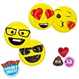 Aqua Leisure Pool Toys 5-in-1 Value Bundle: Five (5) Piece Pool Toy Set Includes Emoji Kiss+Wink and Emoji Cool+Nerd Two-Sided Inflatable Pool Floats Plus Three Emoji Drencher Disks