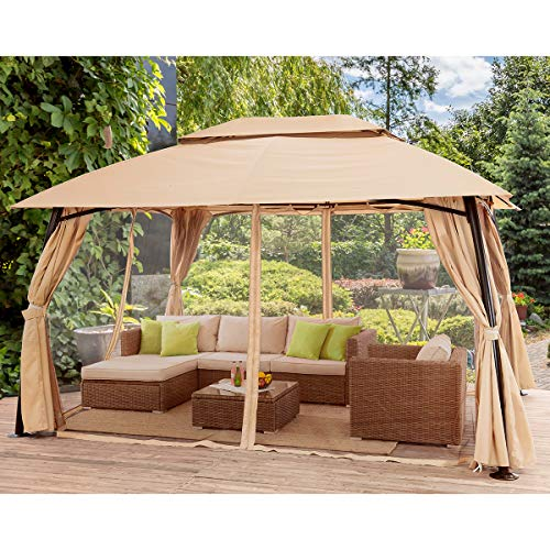 Barton 10' x 13' ft Garden Patio Gazebo Fully Enclosed Weather Sunlight Resistant w/ Mosquito Netting and Curtains -Beige