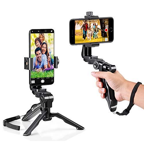Zeadio - Treppiede ergonomico Girevole per Smartphone, Impugnatura con stabilizzatore, Impugnatura per Selfie, per iPhone, Samsung, Huawei, Sony, LG, Nexus, Nokia e Tutti i telefoni.