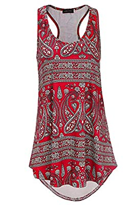 MATERIAL: 100% Polyester. Good Elasticity Light Material ,Flowy,Comfy And Cool For Summer FEATURES: scoop neck, floral pattern, big Hi-Low hem, relaxed flowy, loose fit Occasion: clubwear,casual,work out,beach,sports,vacation,party,suitable for summe...