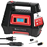 Helteko Air Compressor Tire Inflator AC/DC, Electric Digital Tire Pump for Car 12V and Home 110V, Portable Air Pump with Auto Shut-Off, Emergency LED Light for Car Tires, Bicycle and Other Inflatables