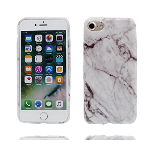 [ Marble bianca + Marrone Srtipe ] iPhone 7 Plus Marble Custodia, Cover [Stone Texture Collection] Stampa in marmo TPU Soft Custodia per iPhone 7 Plus (5.5') Case anti-shock anti-graffi