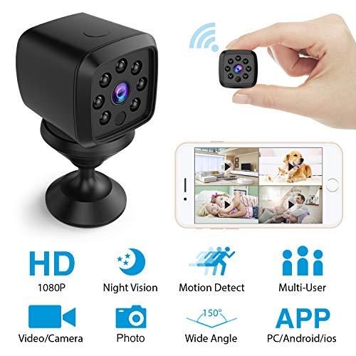 Mini Telecamera Nascosta WiFi, HEYSTOP Spia Camera Microcamere Spia videocamera nascosta 1080P HD Wireless Rilevamento di Movimento Portatile Videocamera di Sorveglianza Video Registrazione in Loop
