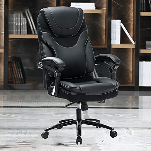 Product Image 1: KCREAM Office Chair,Adjustable Computer Chair PU Leather Swivel Task Chair Flip-up Armrests Ergonomic Desk Chair with Thick Padded Lumbar Support (9109-balck)