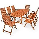 Deuba Sitzgruppe Moreno 8+1 Eukalyptusholz klappbar 9-TLG Tisch Sitzgarnitur Holz Gartenmöbel Garten Set