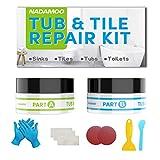 NADAMOO Tub Repair Kit White Tile Shower Repair Kit for Fiberglass Porcelain Ceramic Acrylic Stone, Fix Crack Chip Scrap Hole - 3.5 Oz