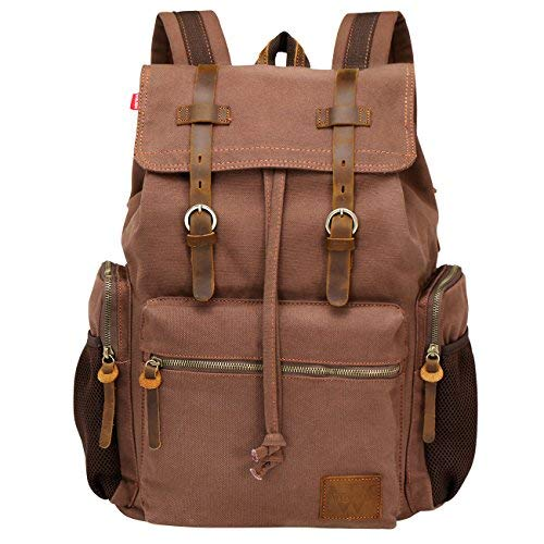 Wowbox Canvas Backpack Vintage Leather 15.6 Inch Laptop School...