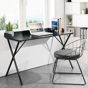 Aingoo Spacious Writing Computer Desk 47' with Raised Edge Design and Metal Frame, Black CDK-02