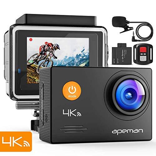 APEMAN Action Cam A79, 4K UHD WiFi 16MP con Telecomando e Microfono Esterno 40M, Impermeabile...