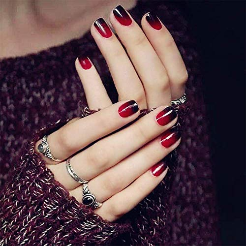 24 Pcs Black Red Full Cover Short False Gradient Jewelry Maple Leaf Red Nails Gel Nail Art Tips Sets for Christmas Decals Decoration