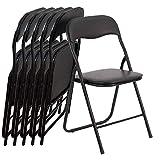 Eglemtek 29833 Lot de 6 chaises Pliantes Style Moderne en métal, Noir