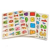 Profun Puzzle en Bois 56 PCS Jouets éducatifs (Alphabet/Nombre/Graphique) pour Les Petits Enfants de 1 an à 5 Ans